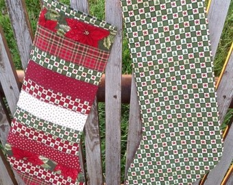 Country Christmas Check Green Quilted Stocking