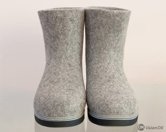 """Handmade winter felted booties - felted boots """"Simply Gray"""""""
