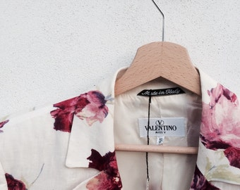 Floral jacket vintage Valentino style Watercolour prints Brown and cream