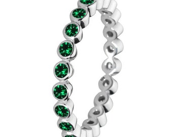 Green Stone Ring 925 Solid Sterling Silver Round Stone Stacking Stackable Stack Band Women