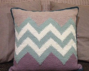 PDF Pattern - Zigzag cushion - Tunisian Crochet
