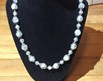 Glass Beaded/Silver Accent Necklace