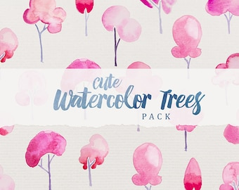 Cute Watercolor Trees Pack