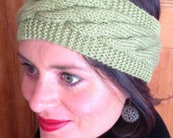 Olive green wool headband