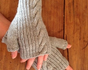 Gray mittens with cables
