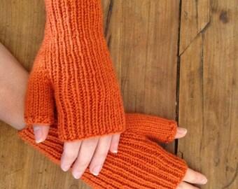 Orange wool mittens