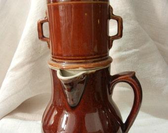 Retro Brown ceramic teapot