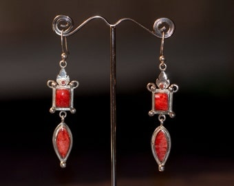 SALE-Silver Orange Spondylus Earrings