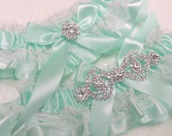 Soft mint wedding garter set,  Wedding garter set,  Wedding garters