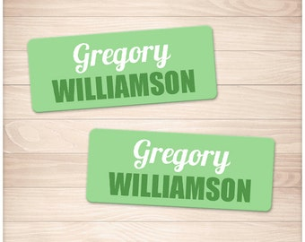 """Printable Name Labels GREEN for School Supplies - Personalized 2 5/8"""" x 1"""" Labels - Back to School - Editable PDF - Instant Download"""