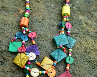Colorful Necklace Hand Crafted of Coconut Shell Beads,