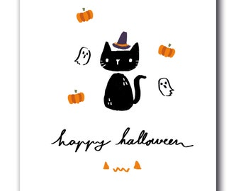INSTANT Download - Halloween card - The Black Cat
