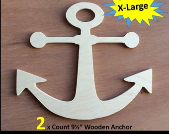 Unfinished Wood Anchor   Lot of 2 Anchors   DIY Crafts  