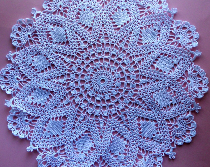 14 inch Doily, Table Decor, White Crochet Lace Doily, Rustic White Decoration, Crochet Cotton Doily, Gift Lace for Her, Table Runner