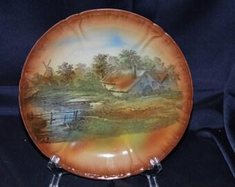 Franz Anton Mehlem Royal Bonn German Country Scene Plate/Plaque Antique Vintage Circa 1800s Item #1807