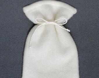 Woolen drawstring bag - Small gift bags - Woolen white pouch - Felted drawstring - Gift drawstring - Drawstring pouch - Favor bag