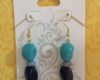 Black and Turquoise Blue Twist E#56