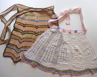 Two Vintage Crocheted Hostess Aprons--Lot #1