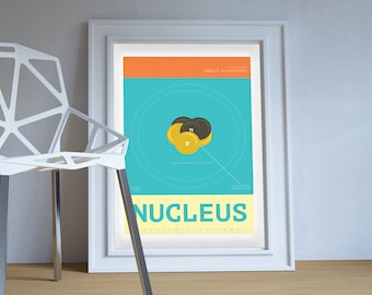 Nucleus Minimalist Art Print Science & Physics Illustration Giclee on Cotton Canvas and Paper Canvas Geekery Poster Wall Decor