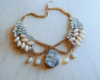 Crystal Druzy Assemblage Statement Necklace