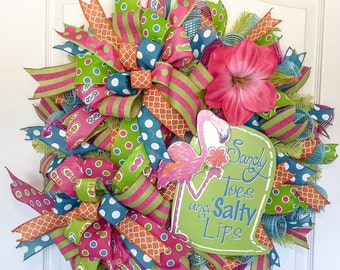 Summer Wreath for Front Door - Flamingo Wreath - Sandy Toes & Salty Lips - Front Door Wreath - Door Wreath - Beach Wreath - Deco Mesh Wreath