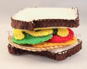 Felt Sandwich Set - Play Food - Build a Sandwich - Pretend Restuarant - Waldorf Inspired