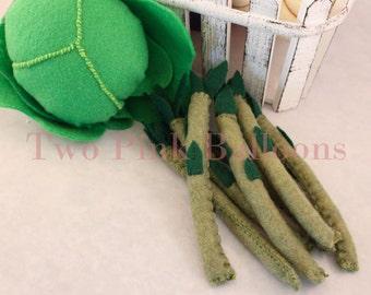 Felt Asparagus - Play Food - Pretend Kitchen Play - Waldorf Inspired