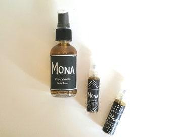 Rose Vanilla Facial Mist Sample (all skin types)-Facial Toner, Facial Spray, Hydrating Brightening Soothing, Hand Made, Organic Skin Care