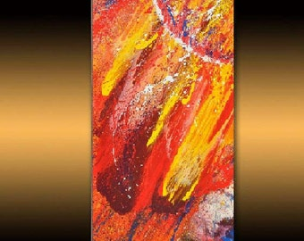 "Original LANDSCAPE PAINTINGS large acril painting, black & red PAINTING huge art sale online gallery Canvas art ,39"" X 19""  by Noldin"