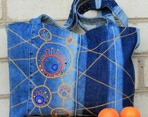 Embroidered denim bag - Bizarre circles/Upcycled denim/Tote bag/Hobo bag/ Handmade embroidery
