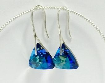 925 Silver earrings and crystal Swarovski Bermuda Blue