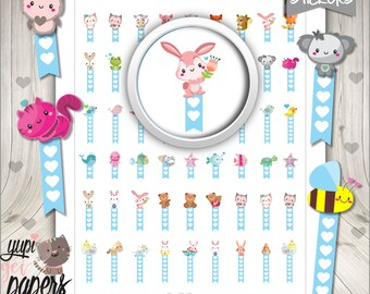 Animal Stickers, Planner Stickers, Animals, Flags, Bee, Rabbit, Kawaii Stickers, Planner Accessories, Printable Stickers, Digital Stickers