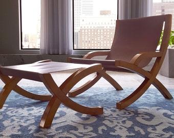 Leather sling chair with ottoman--modern minimalist mid-century design