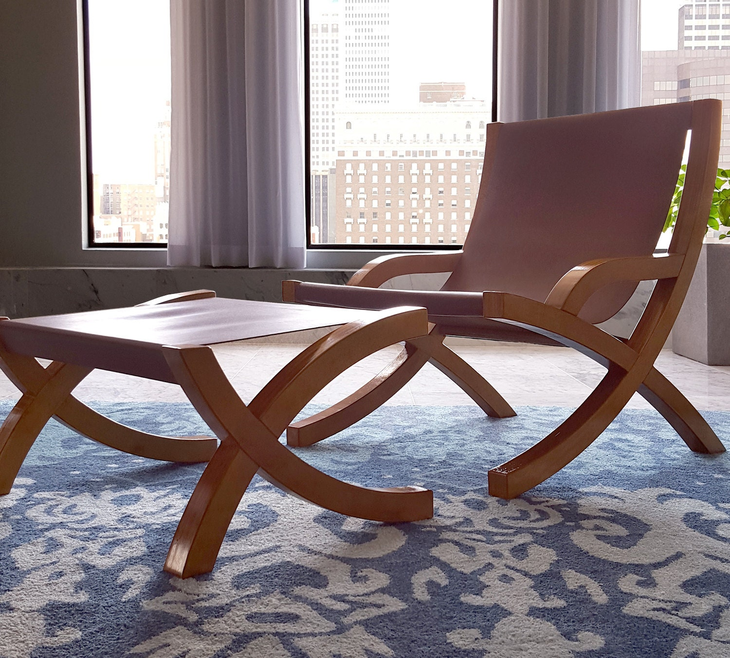 leather sling chair with ottomanmodern minimalist