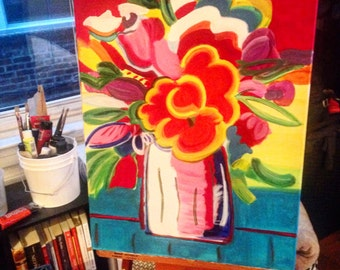 Colorful acrylic painting, flowers painting,