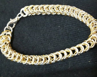 Gold and silver chain maille  bracelet