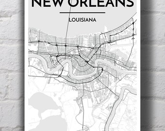 Black & White New Orleans City Map Print