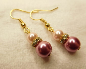 Rose/Pink or Burgundy/Pink Pearls -style 2027