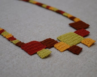 Geometric serie Necklace squares in autumn colors. Fine handmade crochet necklace.