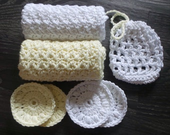 Yellow and White Bath Set, Crochet 100% Cotton Washcloths, Mesh Soap Saver Bag and Face Scrubbies