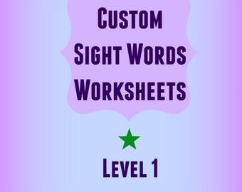 "Personalized Sight Words Workbook / Worksheets / Custom / Sight Words / ""Site Words"" / Kindergarten"