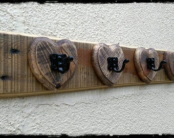 Coat rack - Heart coat rack - Heart coat hooks - Handmade reclaimed wooden rustic heart style coat rack made to order.