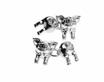 Sterling Silver Plated Pig Cufflinks