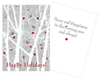 Holiday Card: Birds in Woods