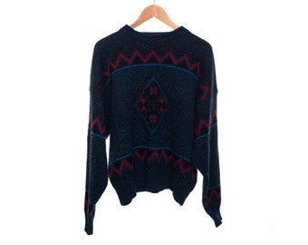 SALE Vintage Todays News Dark Blue Sweater X-Large FREE Shipping