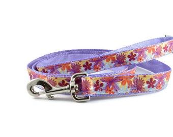 Purple Dog Leash, pretty dog leash, daisy dog leash, flower dog leash, orange dog leash, summer dog leash, spring dog leash