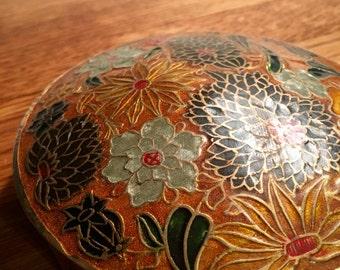 Vintage enameled brass trinket box with colorful flowers, jewelry storage, stash box