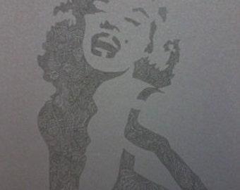 Black on Black Barely There Marilyn Monroe Zentangle A4 Art Print