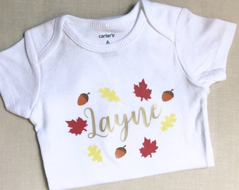Baby Girls Fall Outfit-Baby Girl Clothes-Custom Baby Clothes-Monogram Baby Girl Bodysuit-Fall Baby Clothes-Cute Baby Clothes