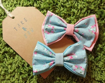 The Kathie Blue Floral Pet Bow Tie for Cats & Dogs